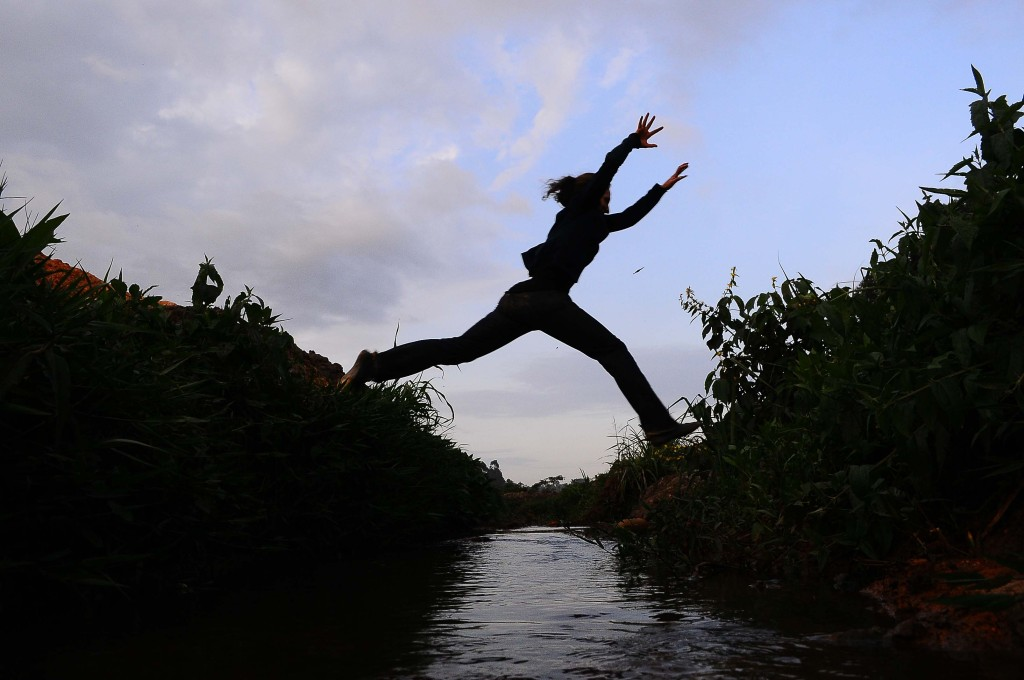 Jumping over a ditch