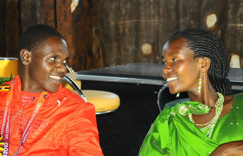 Kipsiro chats with his wife, Benna Chebet at Golf Course Hotel