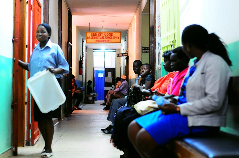 Patients wait to consult doctors at Mengo Hospital