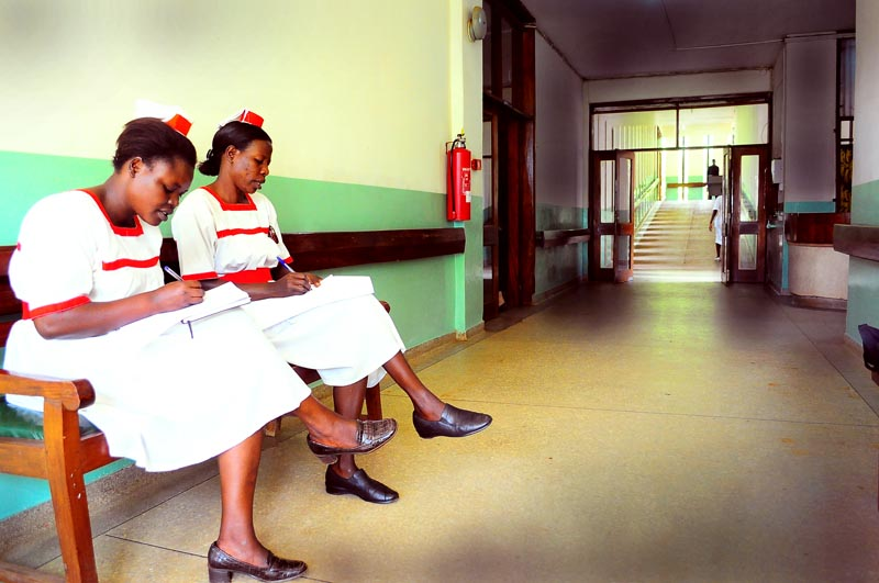 Nurses take a break at Mengo Hospital