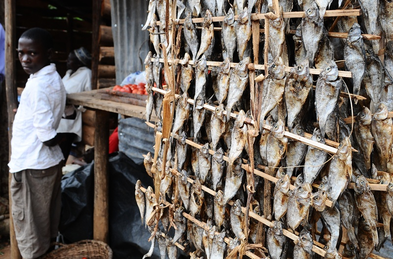 Dried fish is seen hanging on a stall in a village in Kalungu district
