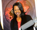 Amani, personally one of my favourite vocalists smiles after the a ONE8 press conference at Serena Hotel this month
