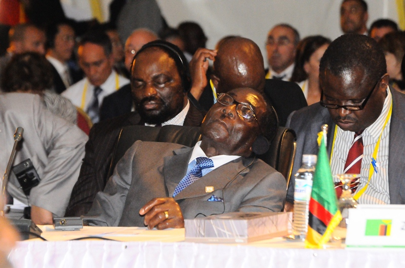 Robert Mugabe Sleeps during the AU Summit in Kampala
