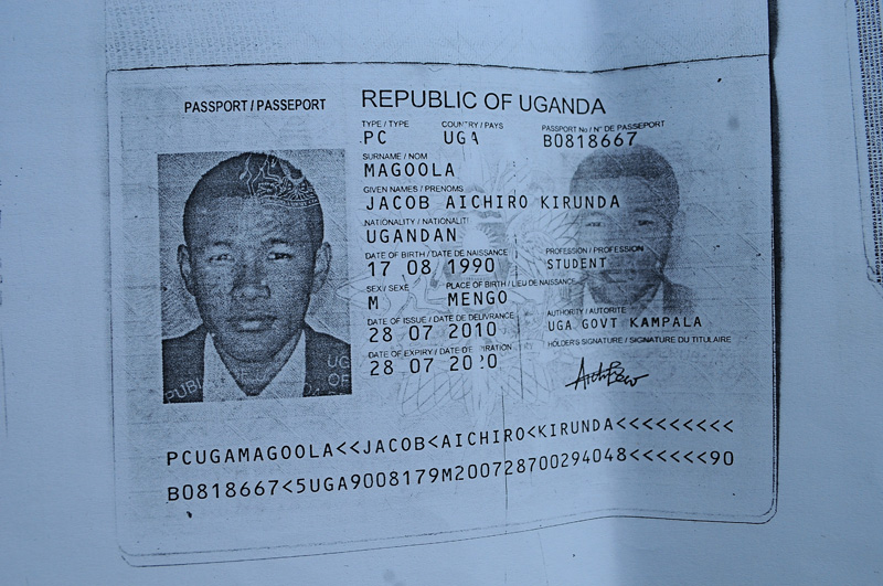 A photocopy of Magoola Jacob Aichiro Kirunda's passport