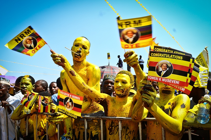 Some of the painted faces at Kololo Airstrip who turned up to celebrate NRM's victory in the just concluded presidential elections