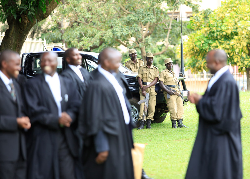 Police is seen hanging around High Court Gardens as lawyers condemned their excessive force in curbing down walk to work protest