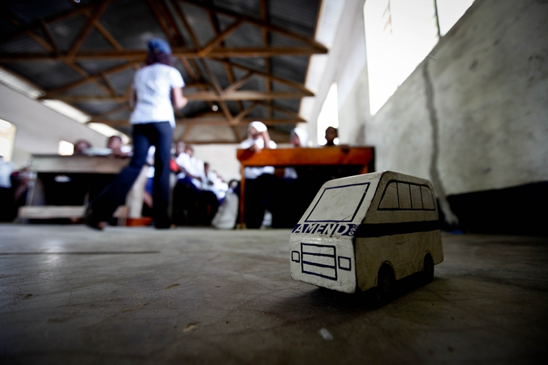 A wooden demonstration car in a class room in Mtoni primary school