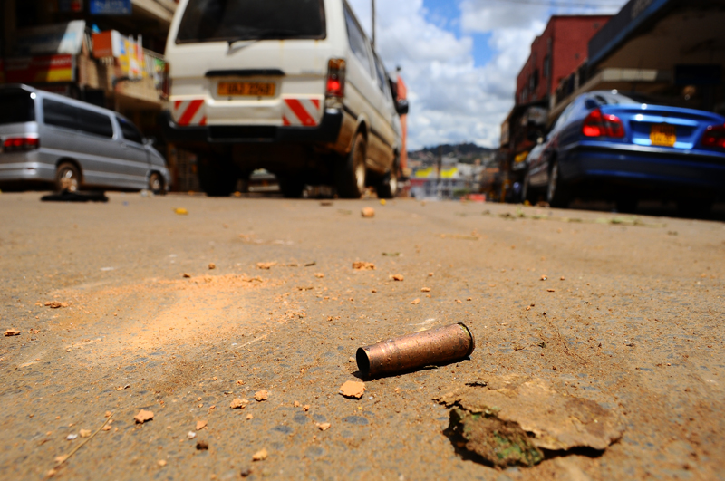 Many bullet shells would be found in most Kampala streets after the riots had cooled down