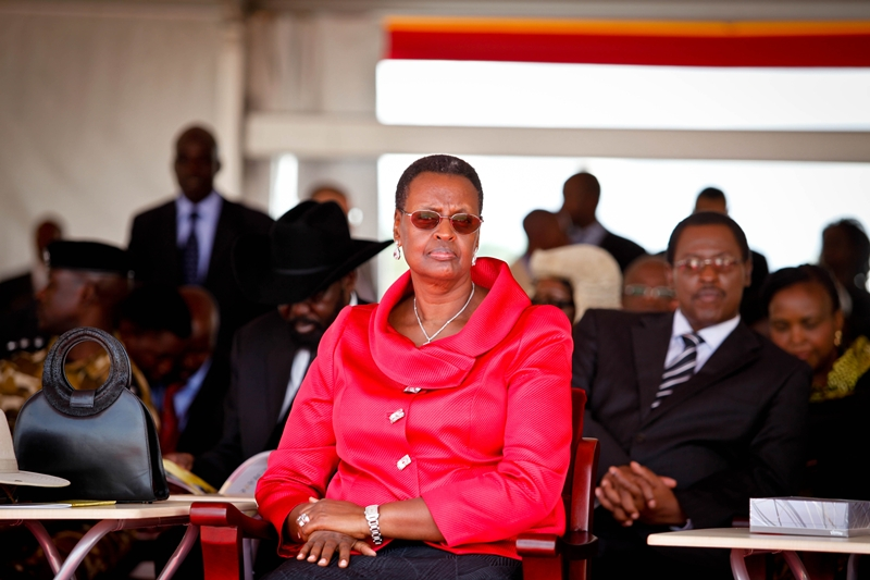 Janet Museveni was strikingly smart in red as her husband was sworn in for another five year term at Kololo Airstrip on May 12, 2011.