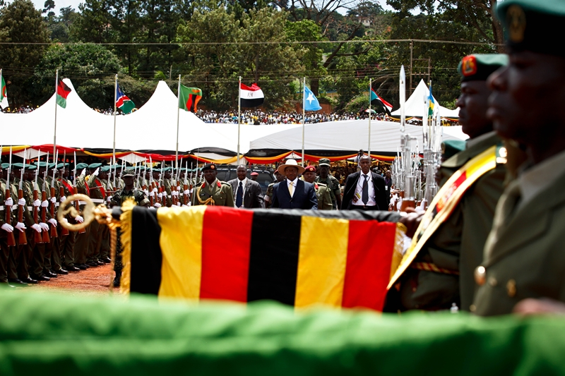 President Museveni inspects a guard of honour after swearing into his fourth term at Kololo Airstrip on May 12, 2011.