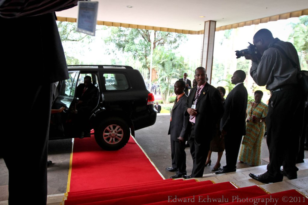 Edward Ssekandi, Uganda's Vice President arrives for budget reading at Serena Hotel where parliament had converged on June 7, 2011.The driver did his part by positioning the VP's exit at the beginning of the red carpet. And so, Ssekandi emerges. Correct