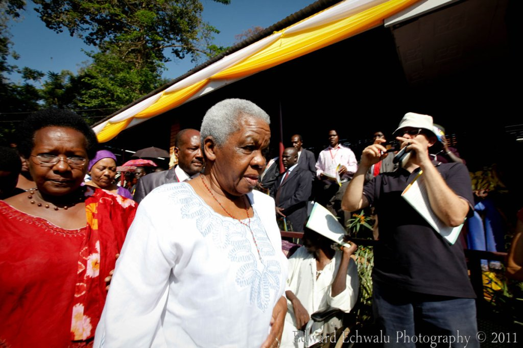 Maama Maria Nyerere arrives for mass at the Namugongo Shrine on June 3, 2011. Celebrations to mark the Uganda Martyrs Day began yesterday with prayers for the beatification of late Tanzanian President Mwalimu Julius Nyerere