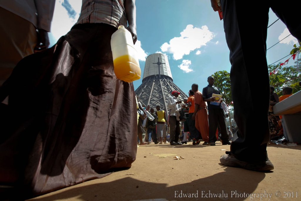 Pilgrims at the Namugongo Shrine. The Uganda Martyrs were Christian converts who were murdered for their faith