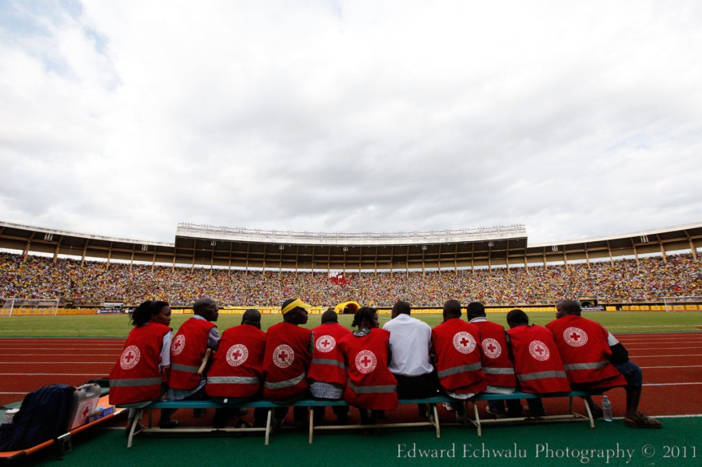 In case of an emergency, let's say a stampede, this Red Cross team would be tasked to take care of over 60.000 plus fans that had turned up to watch the Uganda Cranes beat Guinea Bissau 2-0. Thank God nothing like that happened except a few injuries here and there. But with 10 points gathered so far, it literally means Uganda needs a point in their two remaining fixtures against Angola (September 3) and Kenya (October 8) to qualify for the finals for the first time since 1978