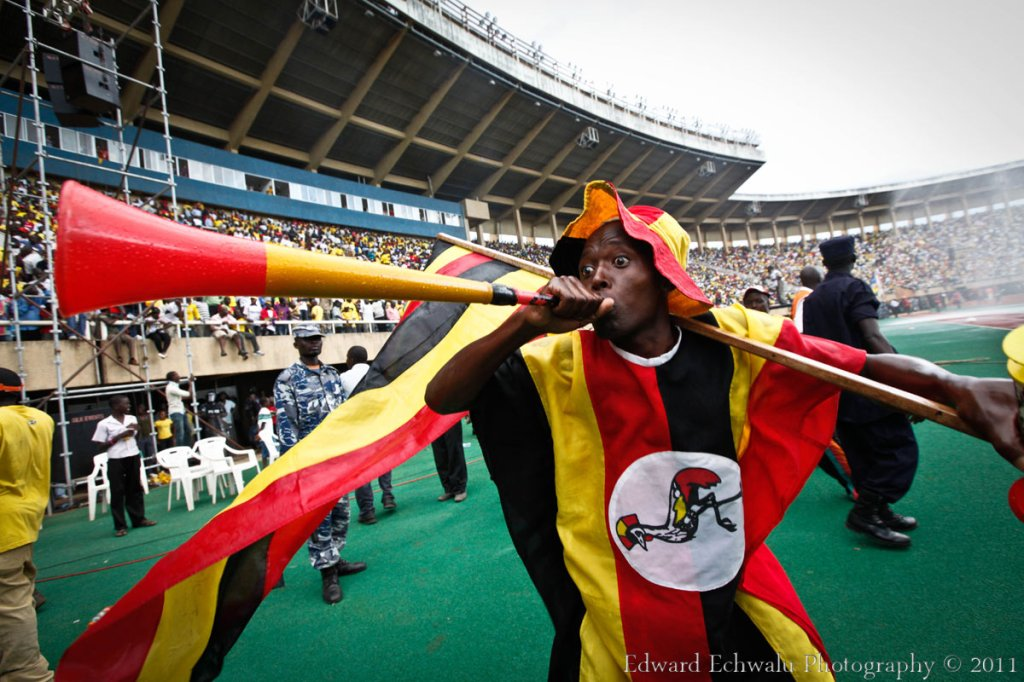 A fan blows Vuvuzela moments after the final whistle at the Mandela Nation Stadium (Namboole) which played host to up to 60.000 fans. With 10 points gathered so far, it literally means Uganda needs a point in their two remaining fixtures against Angola (September 3) and Kenya (October 8) to qualify for the finals for the first time since 1978.