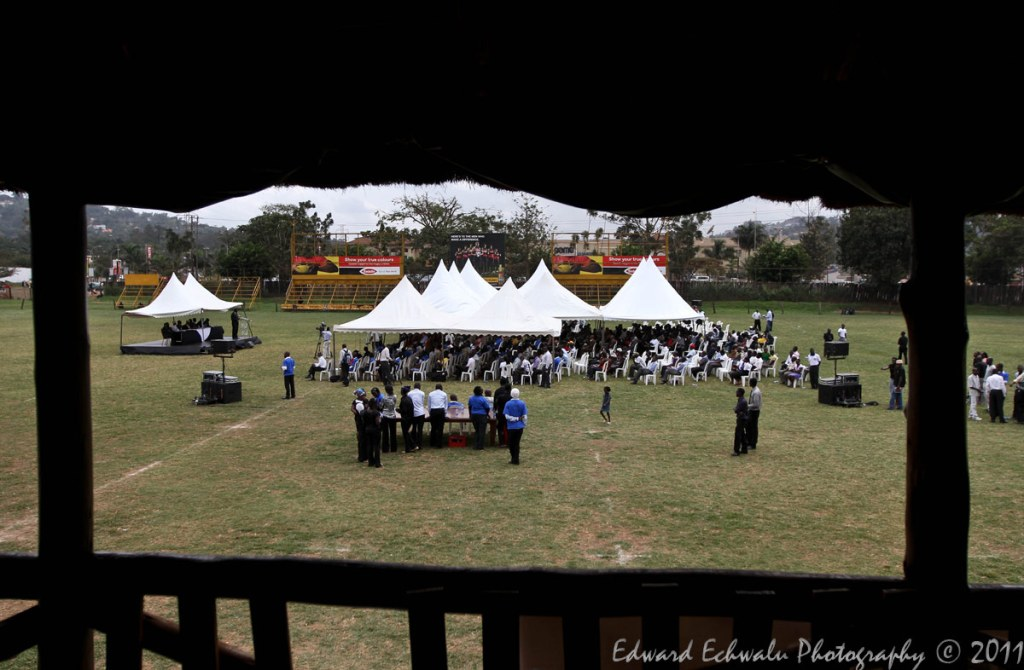 People attend mass to mark the 1st anniversary of the Kampala bombings at Kyadondo Rugby grounds on July 11, 2011. In total, 86 people were killed in a twin bomb blast on July 11, 2010 while watching the football world cup finals in Kampala.