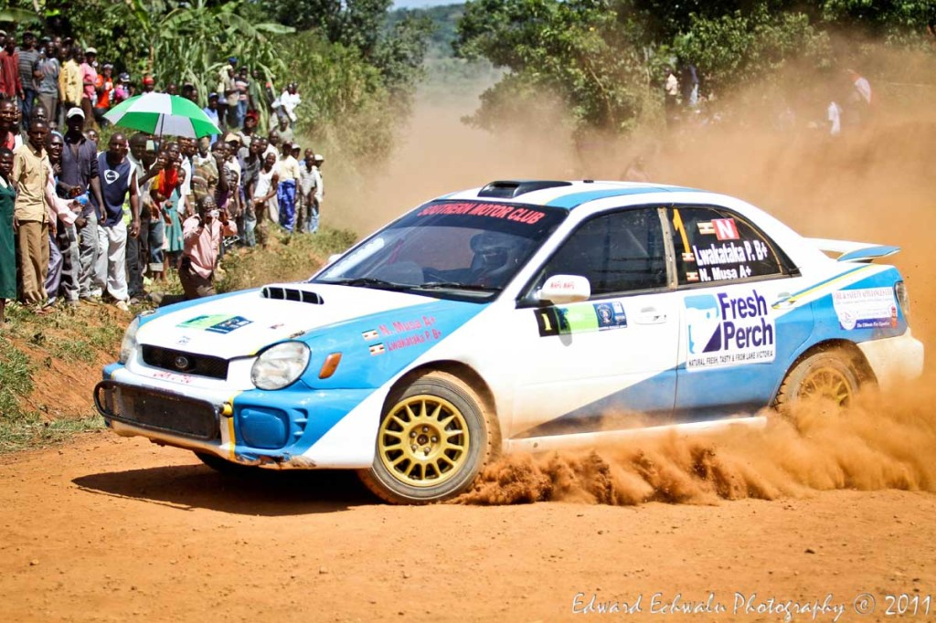 Ponsiano Lwakataka, the eventual winner of the Pearl of Africa Rally negotiates one of various sharp bends in Mukono