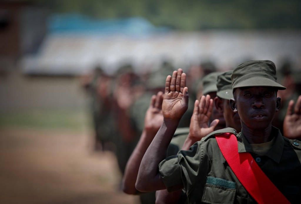 A somali soldier salutes during the passing out of upto 900 of them at Bihanga training camp in Ibanda district,  about 300km west of Uganda's capital, Kampala.