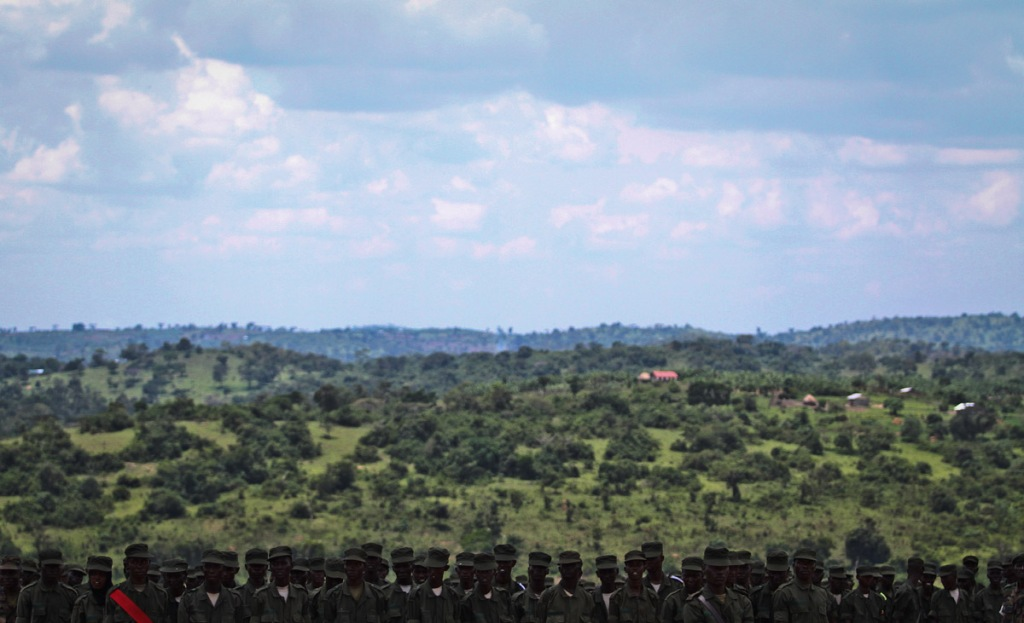 SOMALIA MISSION: Somali soldiers are seen at a paradeduring the passing out of up to 900 of them at Bihanga training camp in Ibanda district, about 300km west of Uganda's capital, Kampala